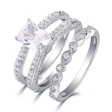wedding rings set tinnivi 925 sterling silver emerald cut white sapphire wedding