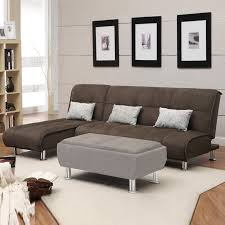 Sleeper Sofa Chaise Sectional Sofa Couch Reversible Chaise Micro Suede Chocolate