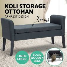 storage ottoman pu leather linen fabric blanket chest foot stool