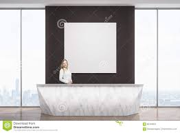 Standing Reception Desk by Woman At Marble Reception Desk Stock Illustration Image 90146873