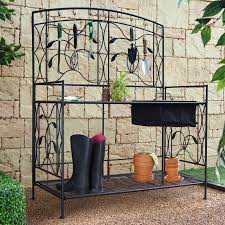 Outdoor Potting Bench With Sink Coral Coast Outdoor Potting Bench With Hanging Grate Dark Brown