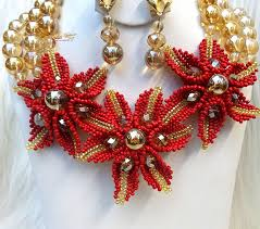 necklace designs with beads images Latest design gold beads with dark red african nigerian beads jpg