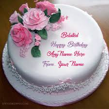 name on belated birthday wishes cake pictures