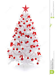 white christmas tree with red decorations u2013 happy holidays