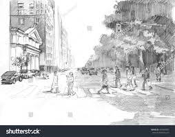 pencil sketch new york street near stock illustration 445695007