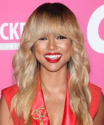 karrueche hair color karrueche tran long wavy casual hairstyle with blunt cut bangs