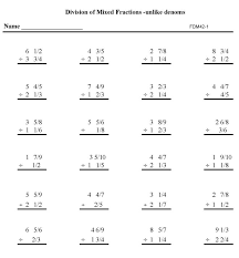 fractions math fractions practice math sheets division mixed fractions unlike