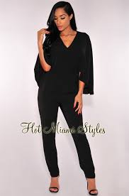 black jumpsuit sleeve cape sleeves jumpsuit