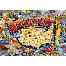 usa map jigsaw level five buffalo vintage america jigsaw puzzle 2 000 pieces