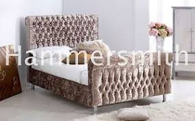 Velvet Sleigh Bed Royal Sleigh Bed Frame Silver Black Mink Truffle Crushed Velvet
