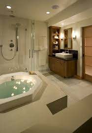 earth tones living room bathroom asian with open shelves recessed