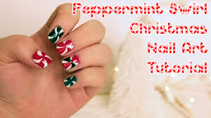 easy christmas nail art designs tutorial christmas peppermint