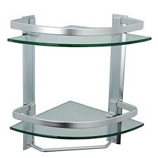Bathroom Corner Shelving Unit Corner Glass Bathroom Shelving Unit Aluminum Bathroom 2 Tier Glass
