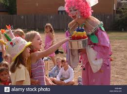 clowns for a birthday party clown at a childrens birthday party stock photo 43149285