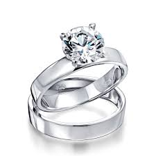 classic wedding rings classic cut 1 5ct 925 sterling engagement wedding ring set