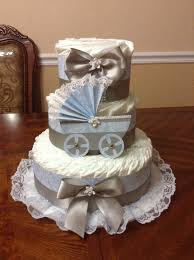 elegant blue and gray diaper cake boy diaper cake 3 tier
