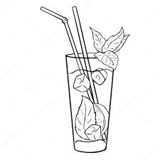 cocktail clipart black and white cocktail mojito with mint leaves u2014 stock vector nikiteev 73483957