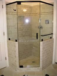 bathroom shower stall design idea with glass door and black