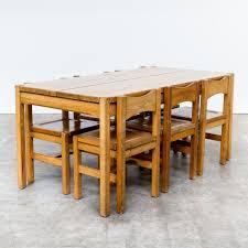 60s ilmari tapiovaara pine wood dinner set table and 6 chairs for