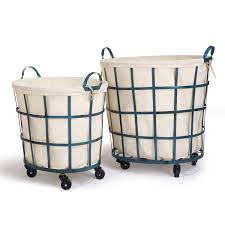 Round Laundry Hamper by Decor U0026 Tips Chic Round Rolling Laundry Cart With Hamper For