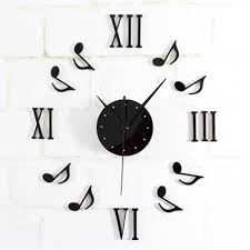 wholesale modern black diy music notes wall clock mirror surface