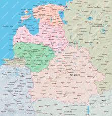 Baltic States Map Estonia Latvia Lithuania Belarus Map Illustrator Mountain
