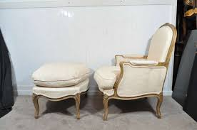 White Chair With Ottoman Vintage Louis Xv Style Carved Walnut Bergere Arm Chair