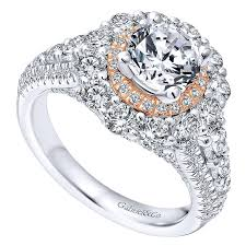 pink gold engagement rings 18k white pink gold diamond halo two tone engagement ring