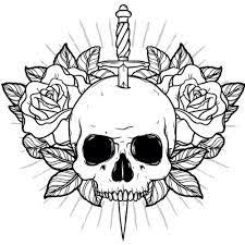skull and flowers drawing at getdrawings com free for personal use