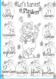 english teaching worksheets numbers 11 20