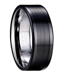 ceramic wedding bands black tungsten wedding ring for men with ceramic overlay