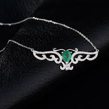 white necklace diamond images 14k white gold natural emerald diamond odyssey necklace crowne jpg