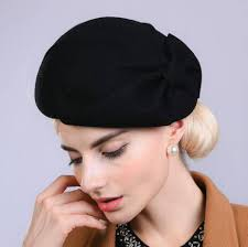 barret hat plain brown wool beret hat with bow decoration for warm