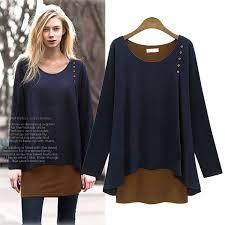 plus size m 5xl women dress long sleeve 2 piece layered set winter