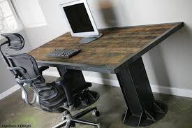 Rustic Desk Ideas Hugh Rustic Modern Reclaimed Wood Iron Desk Industrial Desks
