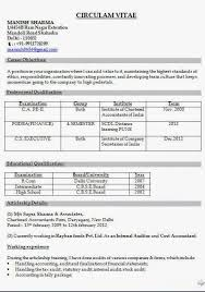 chartered accountant resume chartered accountant cv example sample template example of