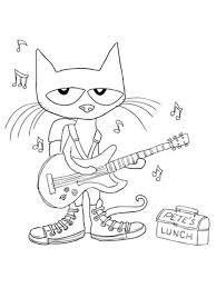 pete the cat coloring page with regard to residence cool