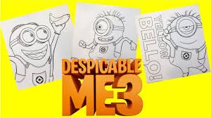 minion despicable me 3 colouring pages youtube