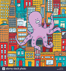 Colorful City Cartoon Illustration Of Giant Monster Octopus Attacking Colorful