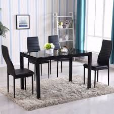 8 Chairs Dining Set Dining Room Glass Dining Room Table And Chairs Black Glass