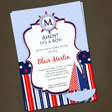 cheeful nautical baby shower printable invitation with sailboat