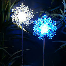 snowflake lights solar led snowflake stakes set of 2