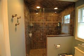 bathroom lowes tile flooring with doorless shower and merola tile