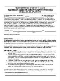 Intent To Vacate Apartment Letter by 8 30 Day Notice Forms Free Sample Example Format Download