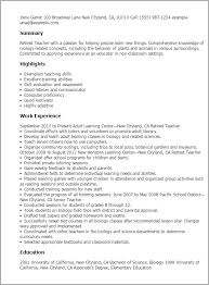 Resume Samples For Teaching by Professional Retired Teacher Templates To Showcase Your Talent