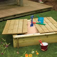 wooden sandbox with lid from early years resources uk backyard