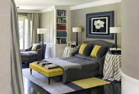 Yellow And Grey Room Grey And Yellow Bedroom Walls Lamps Placed Ceiling Fan Brown