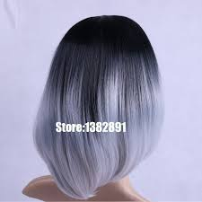 gray hair pieces for american cheap short hair wigs ombre wig bob black grey blonde synthetic