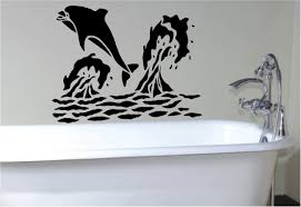 well liked dolphin stencil sticker wall decals inspiring bathroom