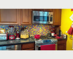 kitchens colorful kitchen with yellow backsplash wall tiles and
